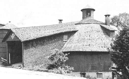 Side view of a Wooden Round Barn in Canada