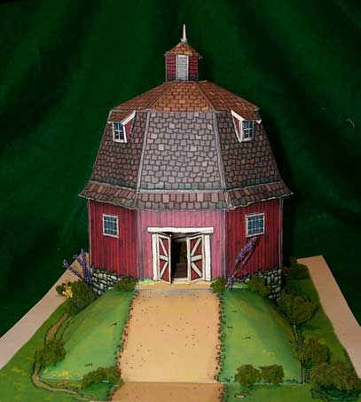 New England Round Barn paper model