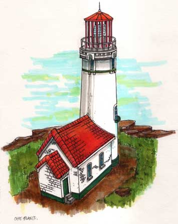 artist drawing of Cape Blanco Lighthouse