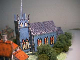 picture of the FG Blue Church paper model