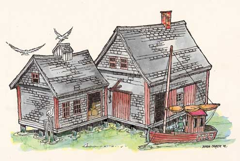 Lobster Shack in New England-drawing