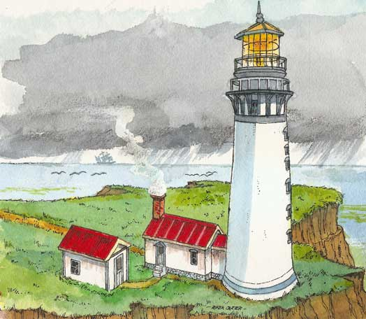 artwork for Destruction Island Light House paper model