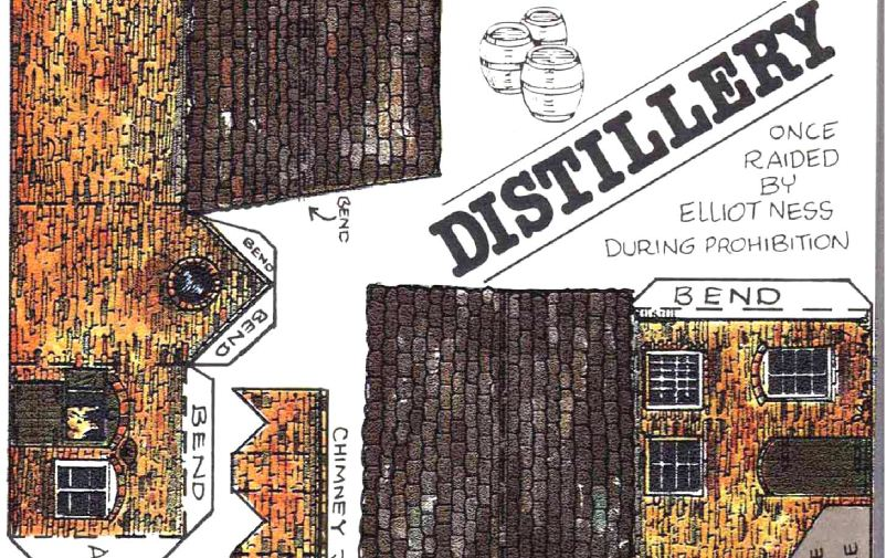 zoom of Distillery paper model