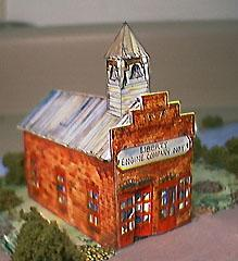 paper model of a Western Firehouse