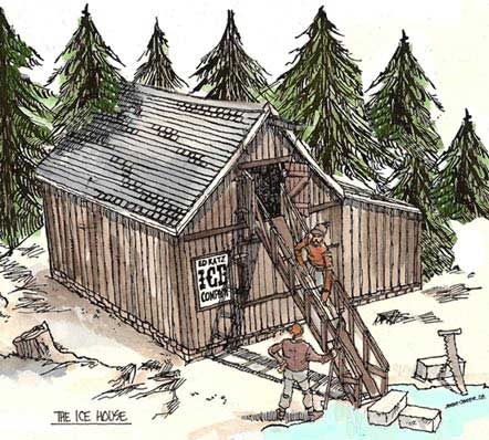 Illustration for New England Commercial Ice House paper model