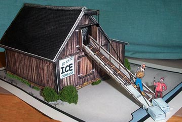 paper model of a New England Icehouse