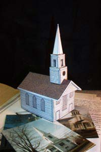 photo of the New England Meeting House and Church paper model
