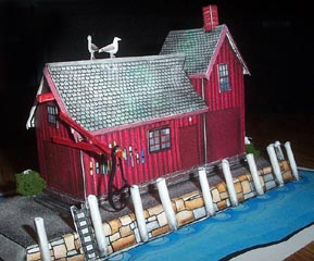 Red Fishing Shack paper model