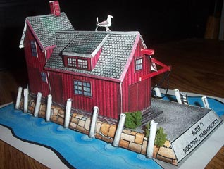 Rockport motif #1 little red fishing shack downloadable card model