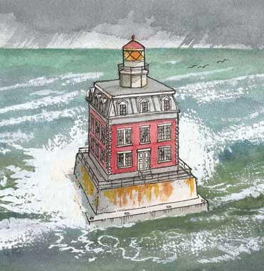 New London lighthouse paper model illustration