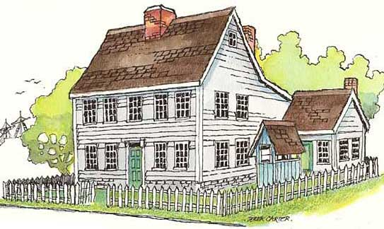illustration for the saltbox House paper model