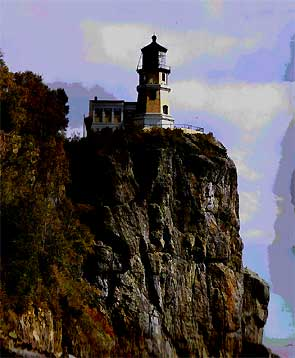 illustration for the Split Rock Lighthouse paper model