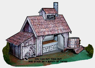 Sugar Shack card model info on the history of maple syrup