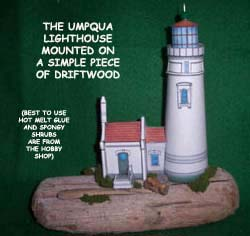 Umpqua lighthouse on driftwood