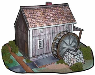 Water Mill paper model