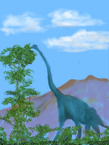 brachiosaurus grazing on treetops