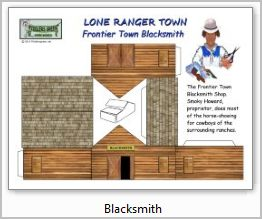 Lone Ranger blacksmith paper model building