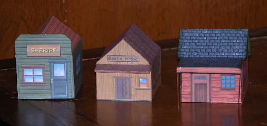 Three Lone Ranger paper buildings