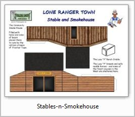 Lone Ranger Stables and Smokehouse paper model building
