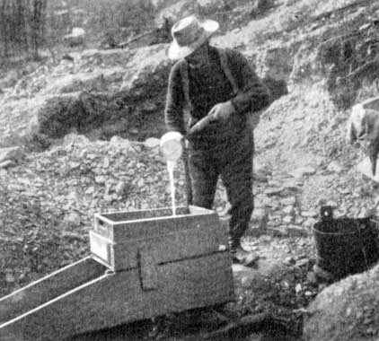 Rocker Box-being worked by a placer miner