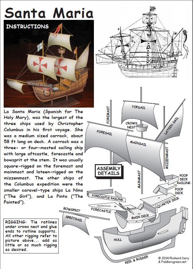 instructions for the Santa Maria paper model ship