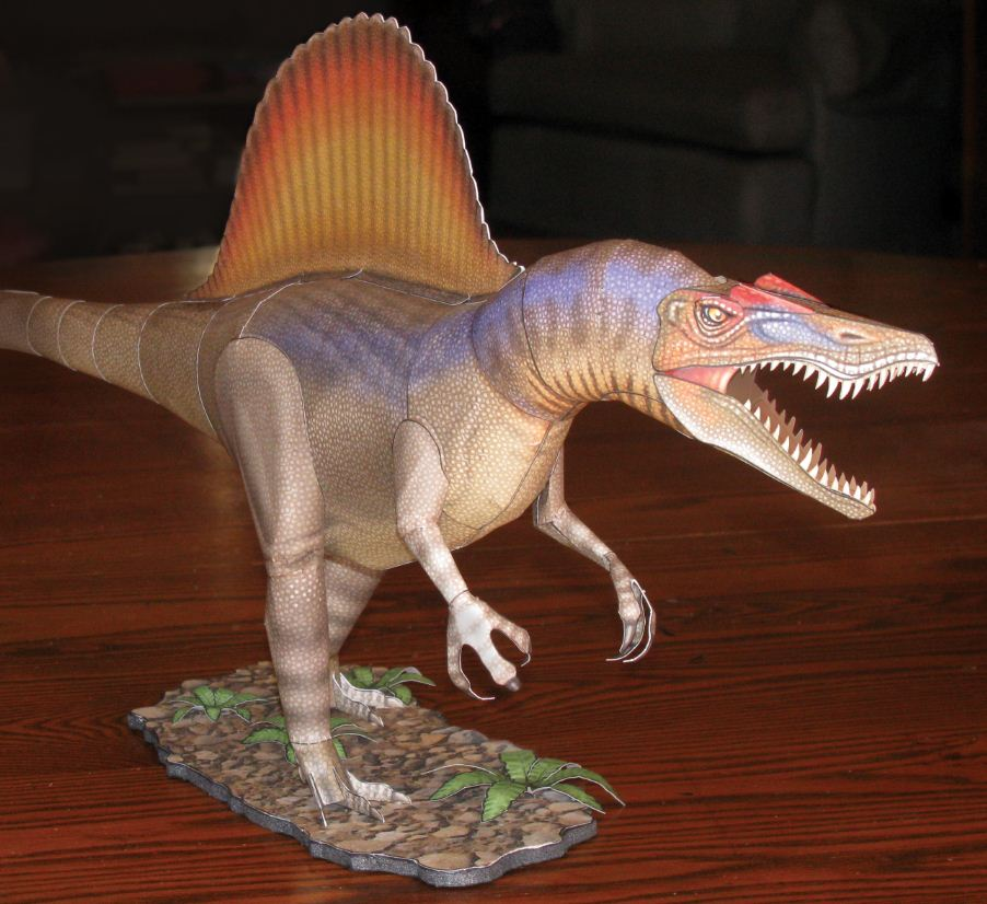 front view of a spinosaurus paper model