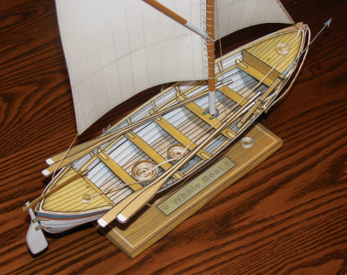 beta build Whale Boat paper model view 3