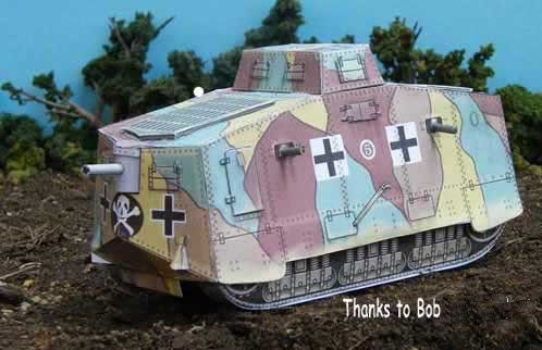 A7V German WWI Tank (Panzerkampfwagen) card model