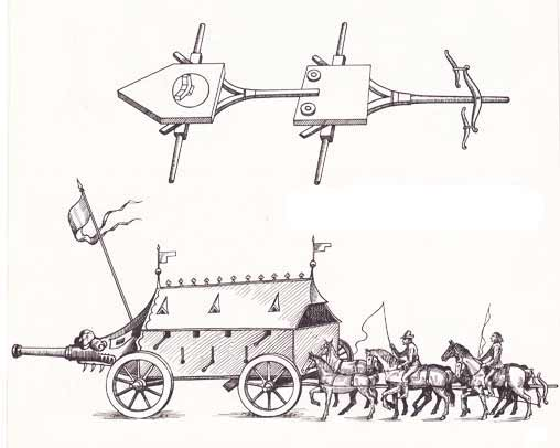 16th century steered combat vehicle