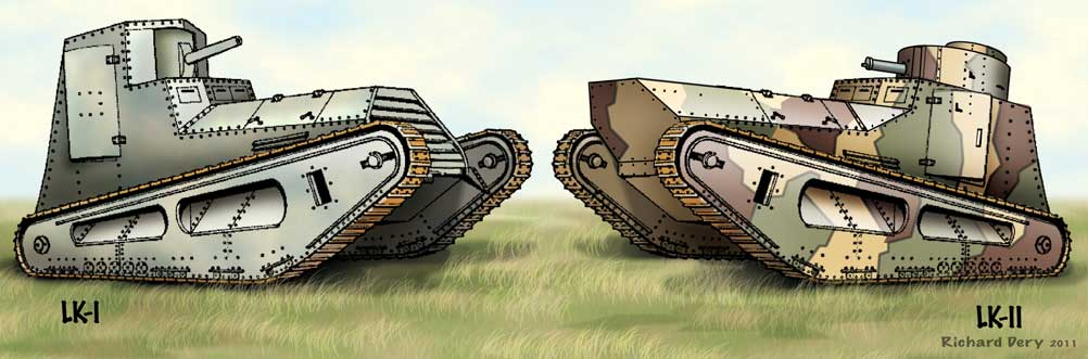 Leichter-Kampfwagen-LK-I and II WWI German Tanks illustration
