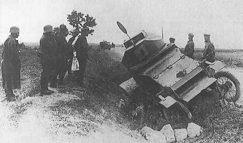 Lanchester Armoured Car in ditch