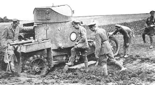 Lanchester Armored Car stuck in WWI mud