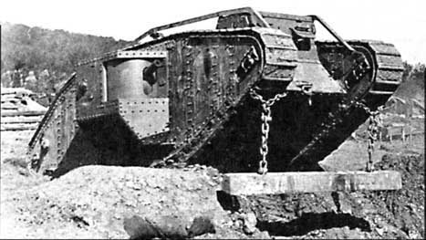 WWI tank Mark IV about to use the unditching beam