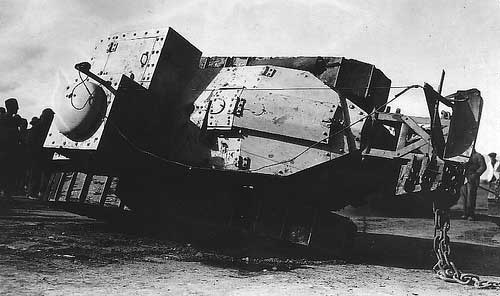 WWI tank FT-17 wreck drunk