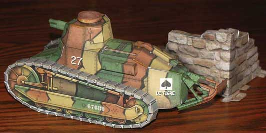 WWI Renault F-17 Light Tank  paper model