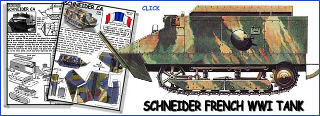 advert for the Schneider French WWI Tank paper model
