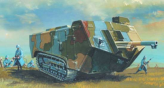 illustration for St Chamond WWI Tank paper model