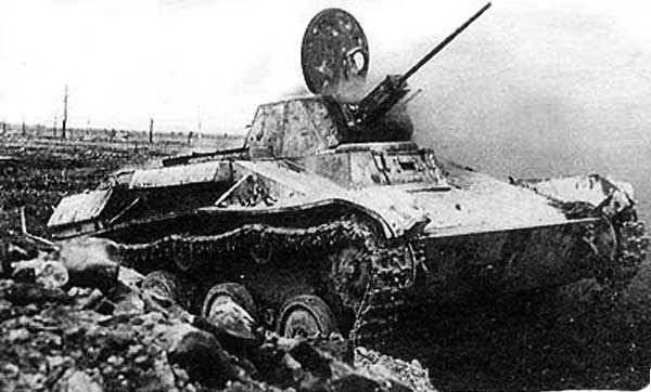 Destroyed T-60 WWII Russian tank