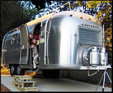 Airstream parked on pad