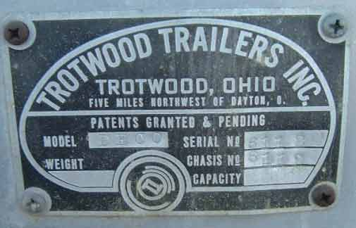Trotwood Travel Trailername plate