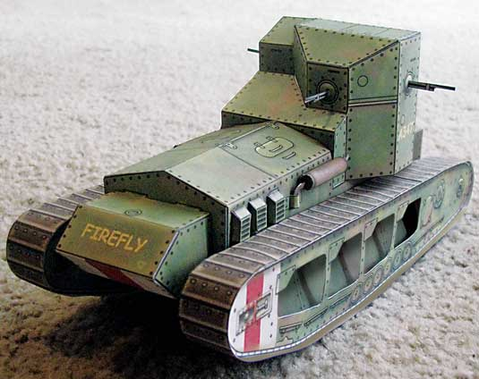 WWI British Whippet racing tank finished downloadable cardmodel