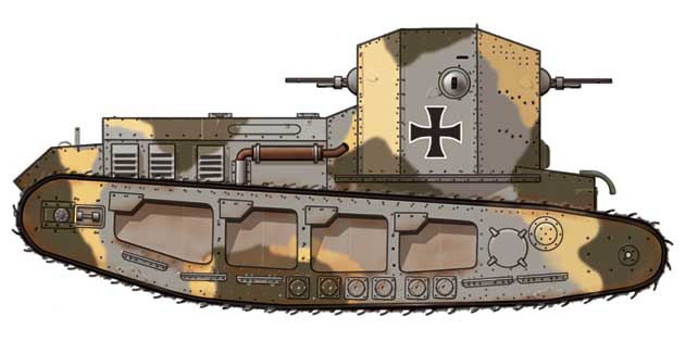 WWI Whippet tanks in German markings